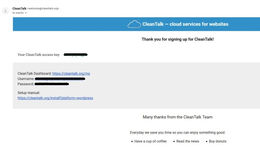 CleanTalk Welcome Email