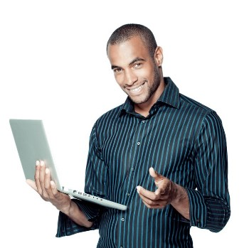 A person holding a laptop and looking pleased