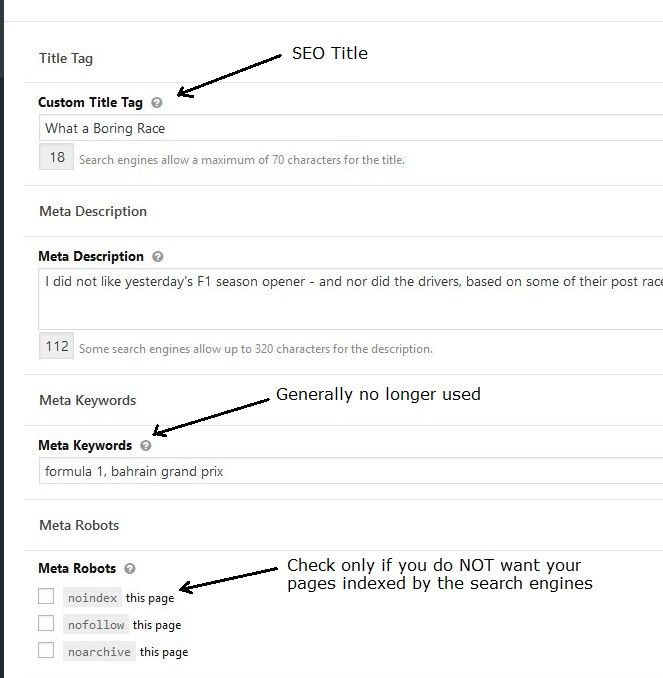 The SEO title, meta description and Meta Robots fields on the WordPress page editing screen