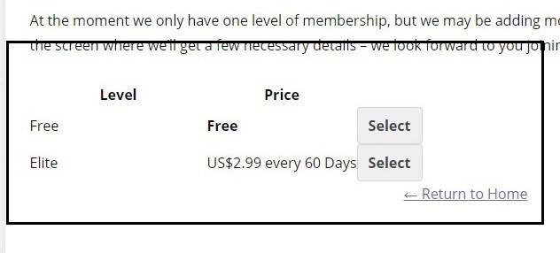 PMPro membership levels page with no styling