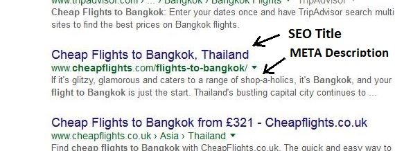 The SEO title and description as they appear in the search results