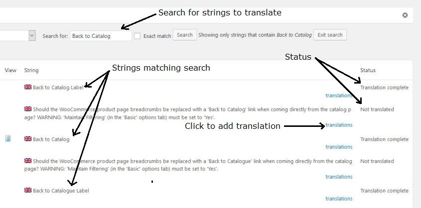 String translation screen WPML