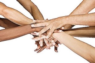 Image of people holding hands in a team support gesture