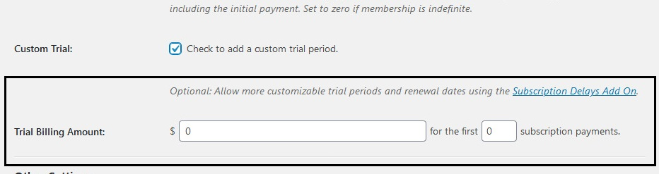 Screenshot of Paid Memberships Pro Trial Period