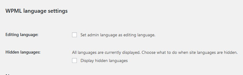 WPML language options in user profiles