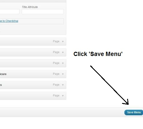 Click 'Save Menu' when you're finished.