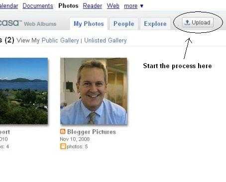 Upload button in Picasa.