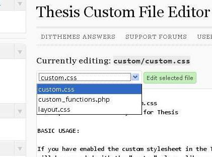 Custom files available for editing