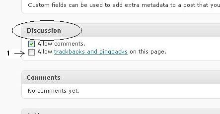 Uncheck the allow-pingbacks-on-this-page feature.
