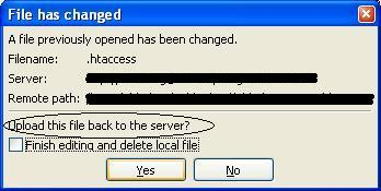 FileZilla Save Changed File confirmation.