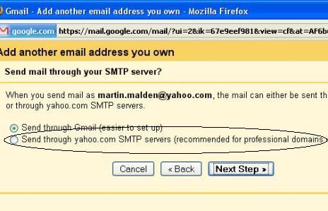 Choose whether to send via the Gmail servers or your own.