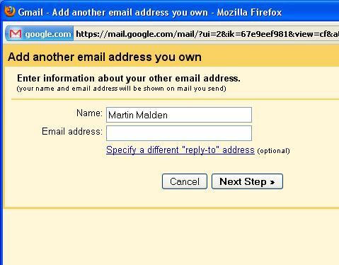 Details of your other email account.