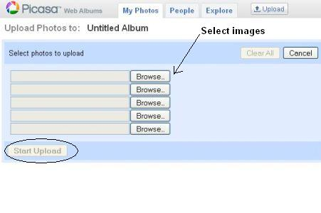 Select the images to upload from your machine.