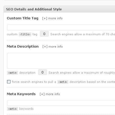 SEO Details section on the Post Add screen.