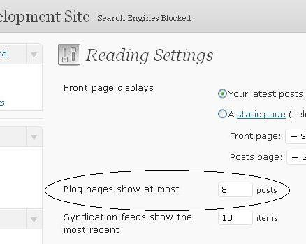 WordPress Settings Reading Screen