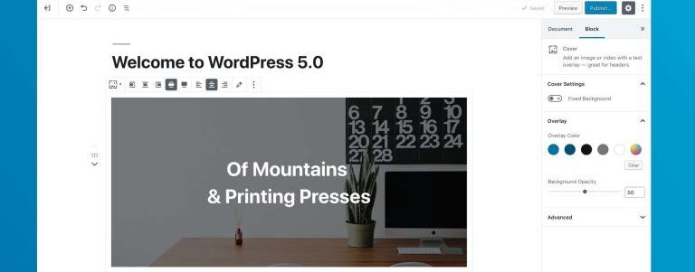 WordPress 5.0 Screnshot