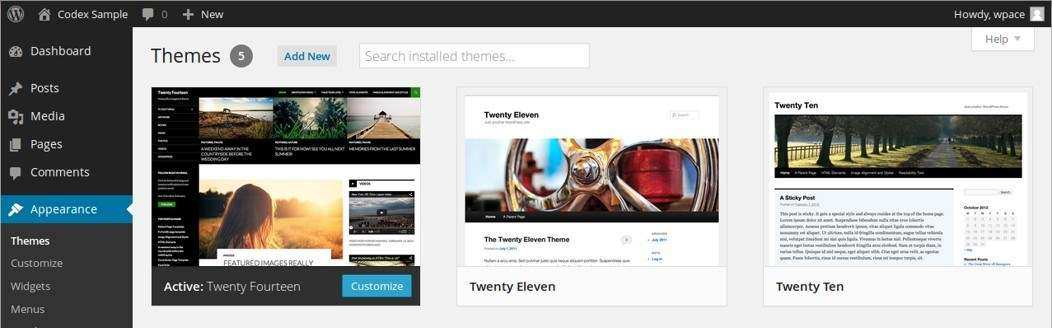 WordPress themes page